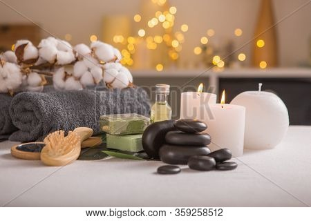 Spa Composition With Christmas Decoration. Holiday Spa Treatment.  Zen And Relax Concept. Christmas