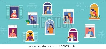 Stay At Home, Concept Design. Different Types Of People, Family, Neighbors In Their Own Houses. Self
