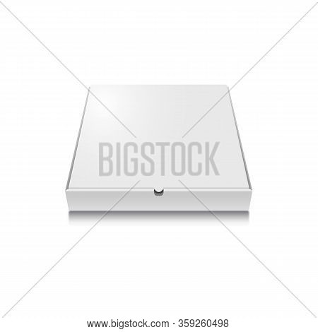 Pizza Box Vector Mock Up. Closed White Cardboard Pizza Box, Pizza Delivery. Box Top View Close-up Is