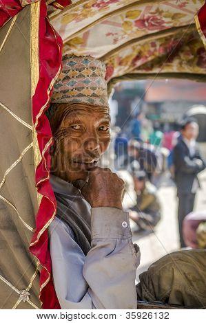 Portrait Of Rickshaw Old Man