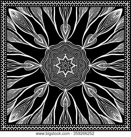 Bandana Clipart Black And White. Bandana Silk Scarf Pattern, Vector Floral Illustration With Abstrac
