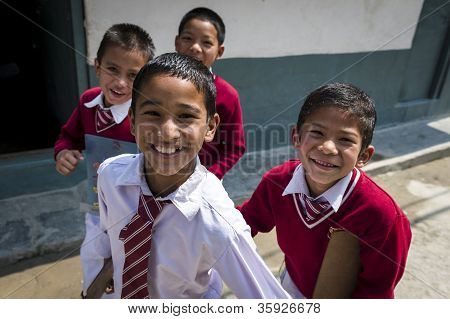 Portrait Of Nepalese Smalling Children