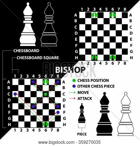 Bishop. Chess Piece Made In The Form Of Illustrations And Icons. Black And White Bishop With A Descr