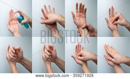 Sequence Of How To Wash Your Hands During Pandemic Of Coronavirus Or Covid-19
