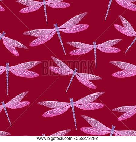 Dragonfly Charming Seamless Pattern. Summer Clothes Fabric Print With Flying Adder Insects. Graphic