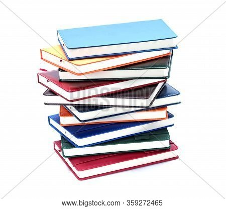 Stack Leather-bound Diaries Or Books, Notepad. Enter And Save Necessary Information. Wide Range Diar