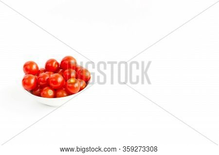 Italian Red Tomatoes Close Up Food With Pasta, Basil Leafs, Cheese, Isolated On White Background