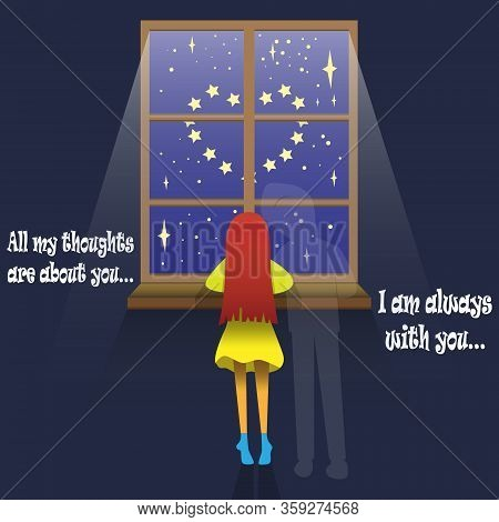 Vector Illustration On The Theme Of Love And Relationships, A Girl In A Gloomy Room By The Window Wi