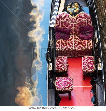 Part Of Gondola On Little Canal In Venice, Italy