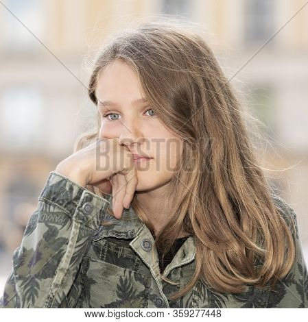 Portrait Of Young Girl Outdoor, France, Europe