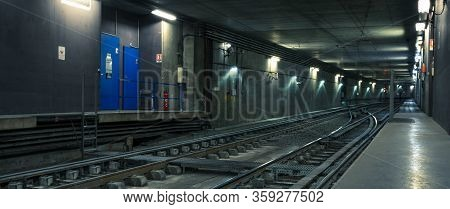 Railway Tunnel In Lyon City, France, Europe