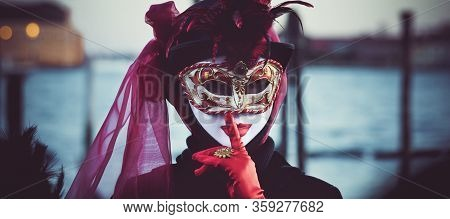 Panoramic View Of Women Wearing A Mask In Venice, Italy