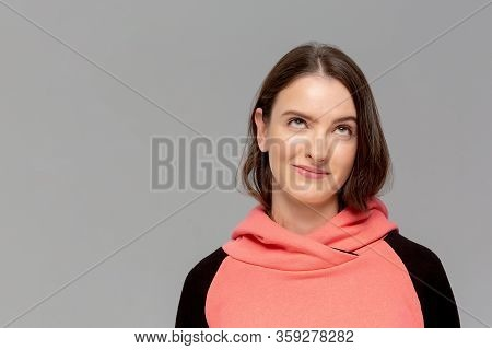 I Lost My Mind. The Squint Eyed Woman With Weird Expression. Beautiful Female Half-length Portrait I