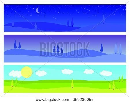 Set Of Landscapes: Morning, Twilight, Night. Natural Landscape In A Flat Style With Trees, Panorama.