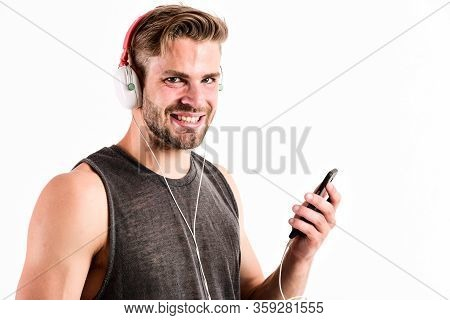 Learning Foreign Language. Relax Playlist. Sexy Muscular Man Listen Music From Playlist. Man Relax I