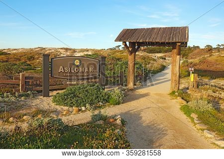Pacific Grove, California - March 14 2019: Sign And Entrance To Asilomar State Beach And Conference