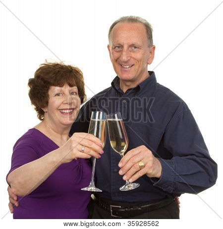 Elderly Couple With Champagne
