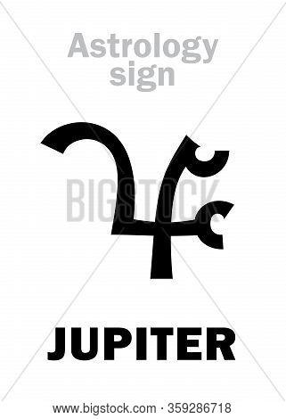 Astrology Alphabet: Jupiter, Classic Major Planet. Hieroglyphic Character Sign (kabbalistic Symbol F