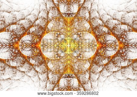 Abstract Fractal Patterns And Shapes. Space Geometry. Dynamic Flowing Forms With Spirals. Mysterious