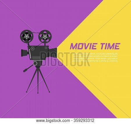 Cinema Projector On A Tripod. Hand-drawn Sketch Of An Old Cinema Projector In Monochrome Isolated On