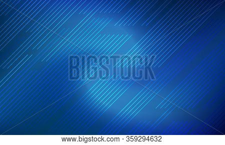 Dark Blue Gradient Blurred Background With Diagonal Parallel Lines Motion. Indigo Blue Dark Banner D