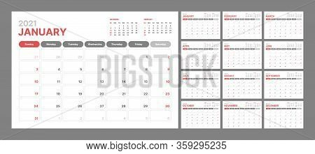 Wall Calendar Template For 2021 Year. Planner Diary In A Minimalist Style. Week Starts On Sunday. Mo