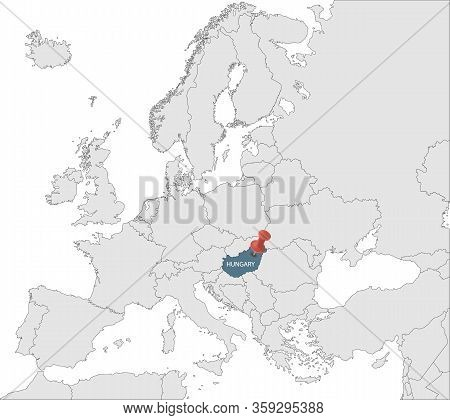 Map Of European Union With The Identication Of Hungary. Map Of Hungary. Political Map Of Europe In G