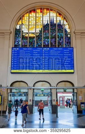 Luxembourg City, Luxembourg- August 19, 2018: Terminal Luxembourg Railway Station With Travellers, I