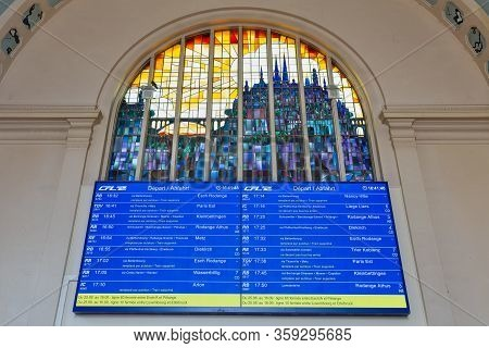 Luxembourg City, Luxembourg- August 19, 2018: Terminal Luxembourg Railway Station With Information P