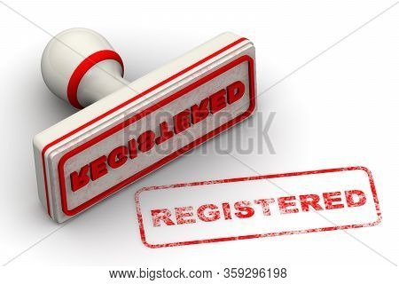Registered. The Seal. The White Seal And Red Imprint Registered On White Surface. 3d Illustration