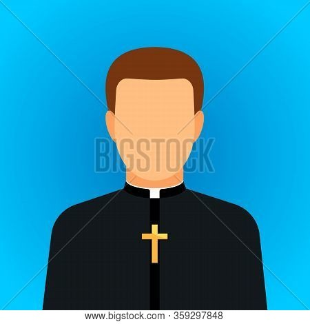 Icon Of A Protestant Or Catholic Priest With The Cross Of Jesus.