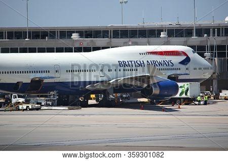 Washington, Usa - June 15, 2013: British Airways Boeing 747 At Dulles International Airport In Washi