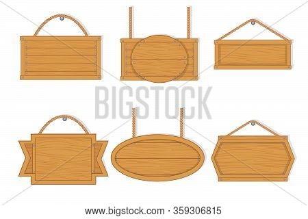 Old West Empty Wooden Boards. Empty Wooden Planks With Nails For Banners Or Messages Hanging On Chai