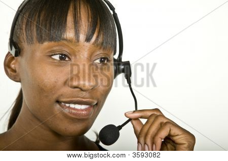An attractive African American customer support representative office worker or business woman. poster