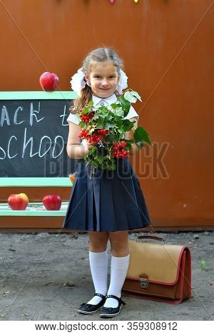 Portrait Of Beautiful Young First-grader Farewell Bell. Day Of Knowledge. Beginning Of The School Ye