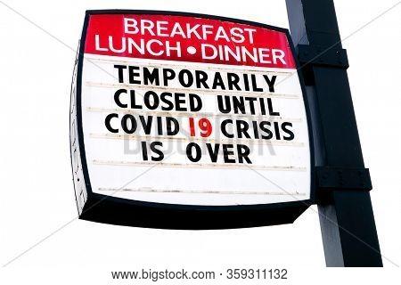 Covid-19 Coronavirus closed restaurant business food dining under quarantine