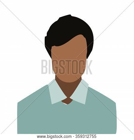 Avatar Profile Icon Of A Black Man.icon In Flat Style Isolated On White Background. User Silhouette