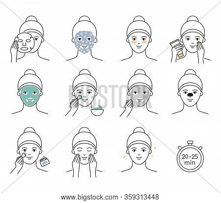 Skin Care Icons. Facial Mask: Clay, Carbonated, Alginate, Moisturizing, Eye Patch, Pore Cleansing