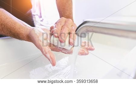 Man Washing His Hands To Prevent Virus Infection And Clean Dirty Hands - Corona Covid-19 Concept