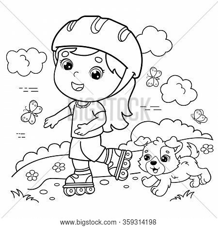 Coloring Page Outline Of cartoon girl on the roller skates with a dog. Coloring book for kids