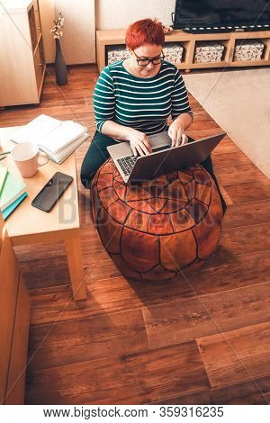Young Business Woman Working From Home With Laptop. Home Office. Stay Home, Study And Work Online, Q