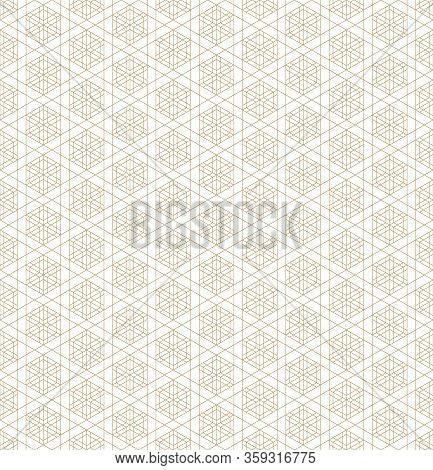 Japanese Seamless Geometric Pattern .gold Silhouette Lines.for Design Template,textile,fabric,wrappi
