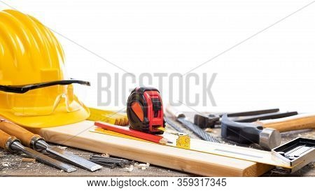 Carpenter Tools On The Workbench.