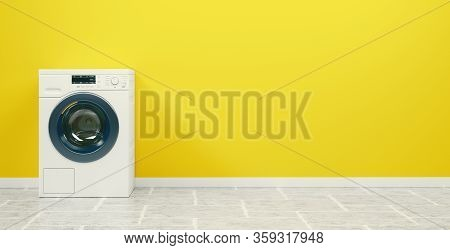 Washing Machine On The White Background, High Resolution 3d Rendering