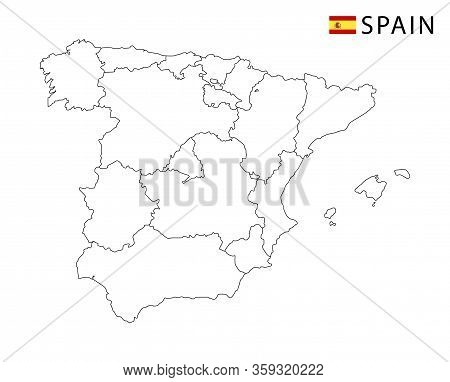 Spain Map, Black And White Detailed Outline Regions Of The Country.