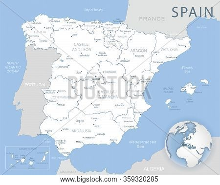 Blue-gray Detailed Map Of Spain And Administrative Divisions And Location On The Globe.
