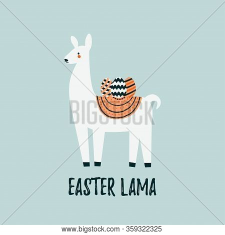 Easter Card For Easter Holidays Design Concept. Lama And Easter And Colorful Eggs Decorated. Cute Ea