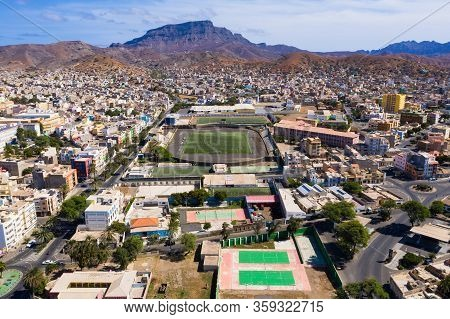 Aerial View Of Mindelo City  In Sao Vicente Island In Cape Verde