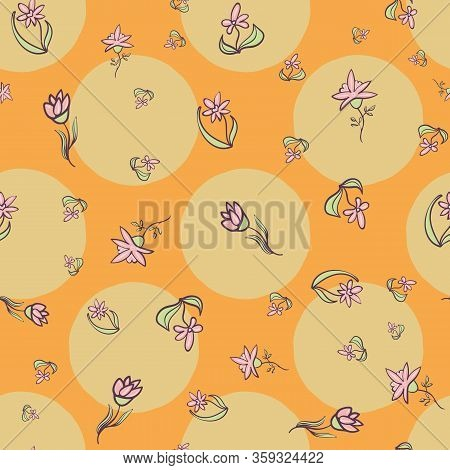 Doodle Flowers Scattered On Big Polka Dots Orange Background Seamless Vector Pattern. Girly Surface