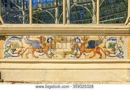 Details Of The Decorative Azulejo Tile Work With Gryphons At Palacio De Cristal Or Glass Palace, Art